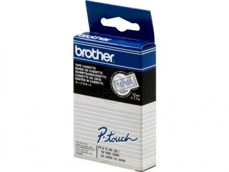 Brother TC103 P-TOUCH 12mm Blau auf Farblos 7,7m laminated
