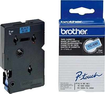 Brother TC591 P-TOUCH 9mm Schwarz auf blau 7,7m laminated