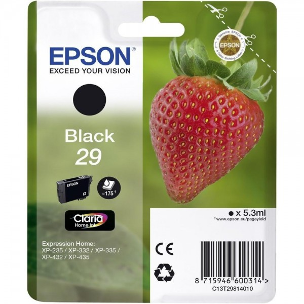 Epson Tinte Erdbeere 29 Black Claria Home Singlepack