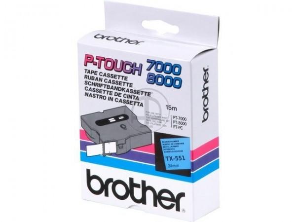 Brother TX551 P-TOUCH 24mm Schwarz auf blau 15m laminated