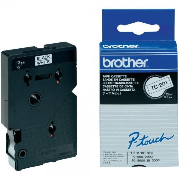 Brother TC201 P-TOUCH 12mm Schwarz auf Weiß 7,7m laminated