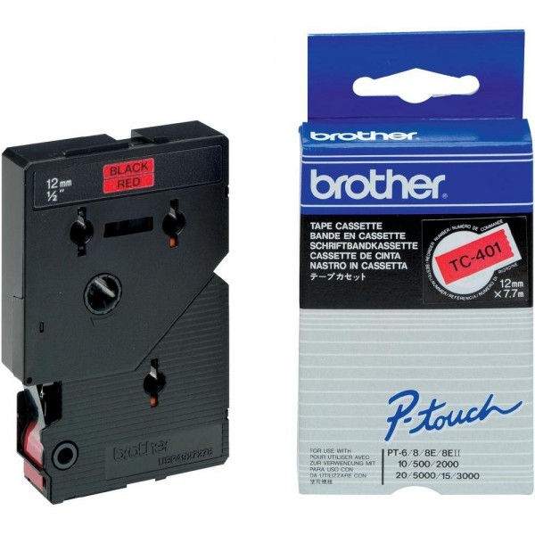 Brother TC401 P-TOUCH 12mm Schwarz auf Rot 7,7m laminated