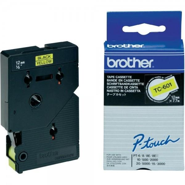 Brother TC601 P-TOUCH 12mm Schwarz auf Gelb 7,7m laminated