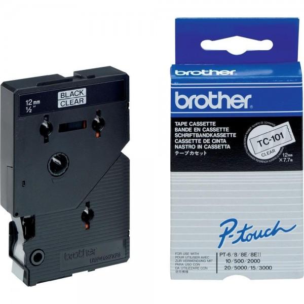 Brother TC101 P-TOUCH 12mm Schwarz auf Farblos 7,7m laminated