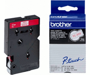 Brother TC202 P-TOUCH 12mm Rot auf Weiß 7,7m laminated