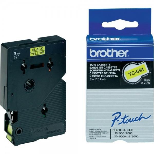 Brother TC691 P-TOUCH 9mm Schwarz auf Gelb 7,7m laminated