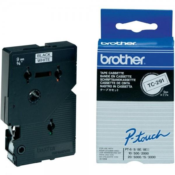 Brother TC291 P-TOUCH 9mm Schwarz auf Weiß 7,7m laminated