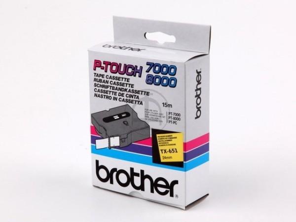 Brother TX651 P-TOUCH 24mm Schwarz auf Gelb 15m laminated