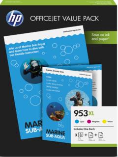 HP 953XL Office Value Pack mit 50 Seiten AIO Printing Paper + 25 Seiten Prof IJ Papier matt 180g/m